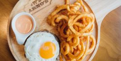 """""""Steak à Cheval"""" – Bunless, 200 G. Of ground dry aged beef topped with a sunny side up egg and caramelized onions."""""""